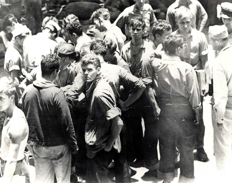 DD-343, APD-24 Survivors taken onto the USS INDIANA -2