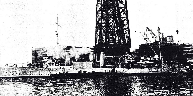 USS Noa DD-343 with seaplane onboard