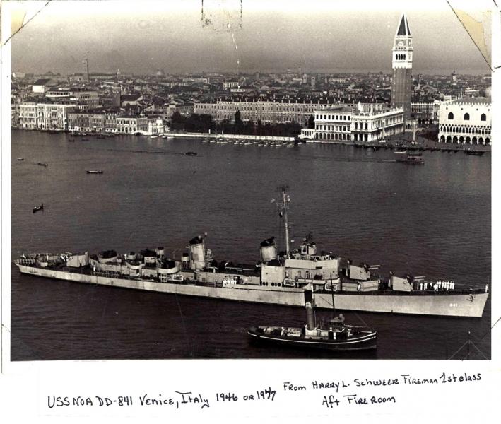 USS-NOA DD-841, Venice, Italy 1946-1947